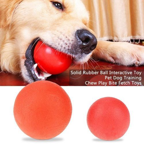 Solid Rubber Ball Interactive Toy Pet Dog Training Chew Play Bite Fetch Toys L