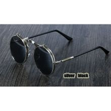 8ccef767d4 Steampunk Sunglasses Round Metal Retro Flip Circular Double Metal Sunglass  Men CIRCLE SUN GLASSES(Random