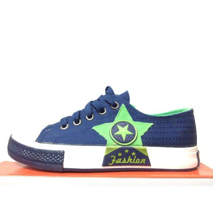 da96884f404 Star Blue Green Canvas Children Kids Boys Sports Running Trainers PE Gym  Shoes Pump Casual ...