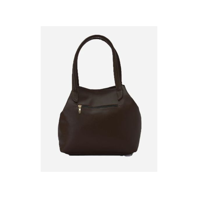 Stitched Leather Handbag - Brown