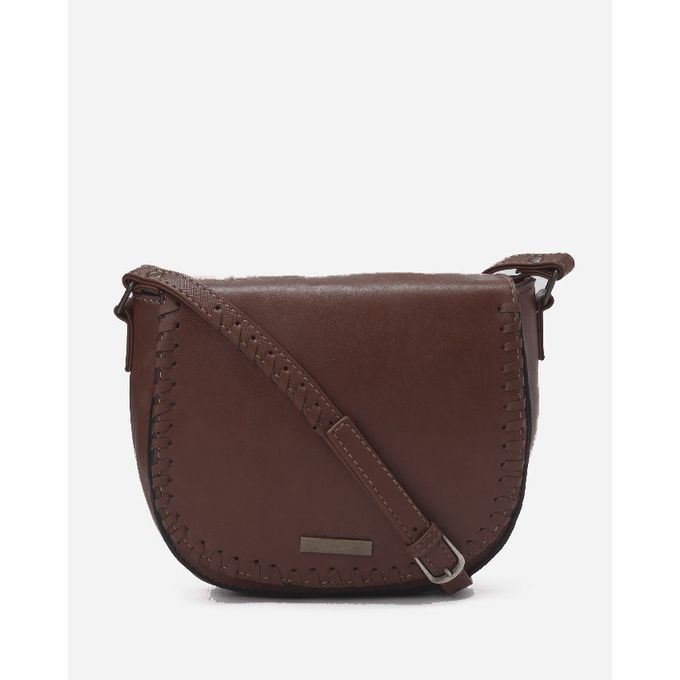 Braided Crossbody Bag - Brown