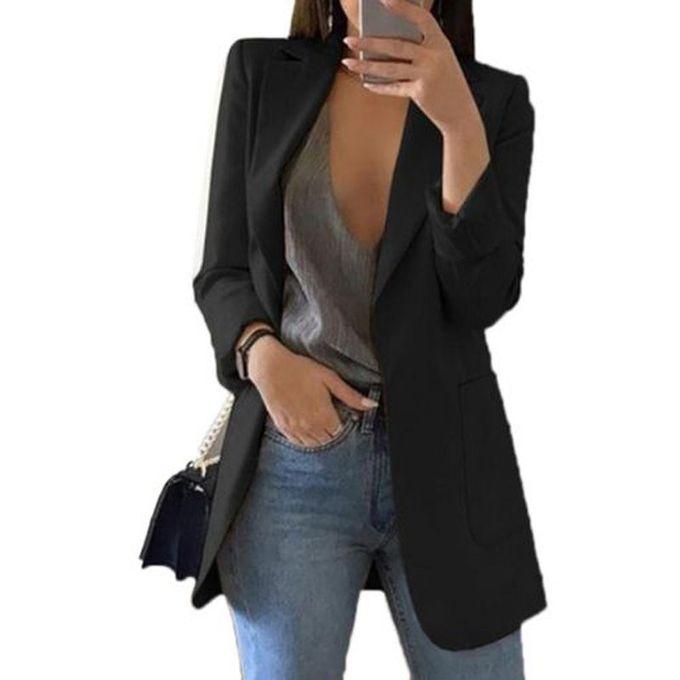 2f20e0b12 النساء الملابس سليم بلايز بلا زر معطف الحلل الأسود - Jumia مصر