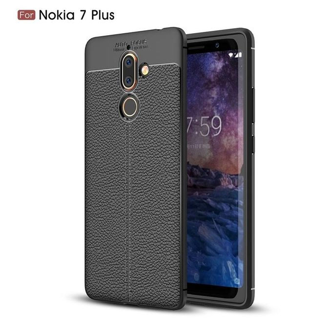 size 40 41965 608df For Nokia 7 Plus Case Leather Litchi Pattern TPU Ultra Slim Back Cover Soft  Protective Case Funda Coque