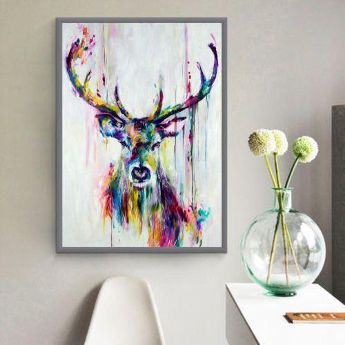 Universal Unframed Watercolour Canvas Print Painting Deer Wall Art Home Decor A4