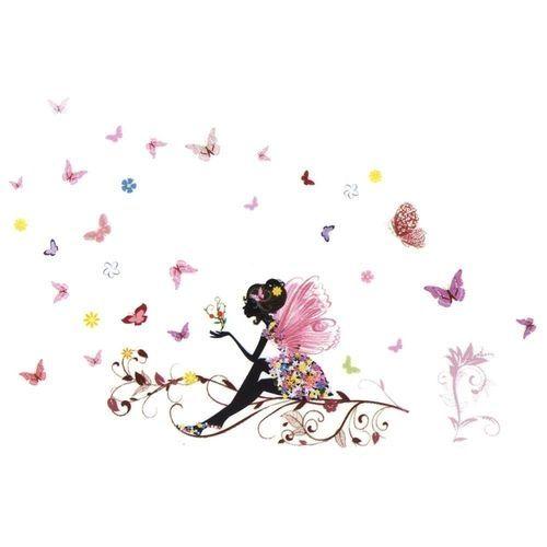 1b395d432d2b Universal PVC Removable Girl Bedroom Decor Fairy Flower Butterfly Wall  Sticker