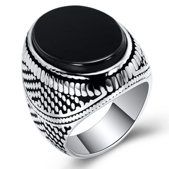 Stainless Steel Retro Ring Black Gem Titanium Steel Ring
