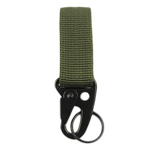 Military Nylon Key Hook Webbing Molle Buckle Outdoor Hanging Belt Carabiner  Clip - Army Green