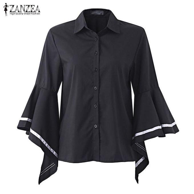 8b0ff1421beb8 ... ZANZEA Women Stylish Ruffled Long Sleeve Shirt Blouse Elegant Striped  Turn-down Collar Casual Loose ...