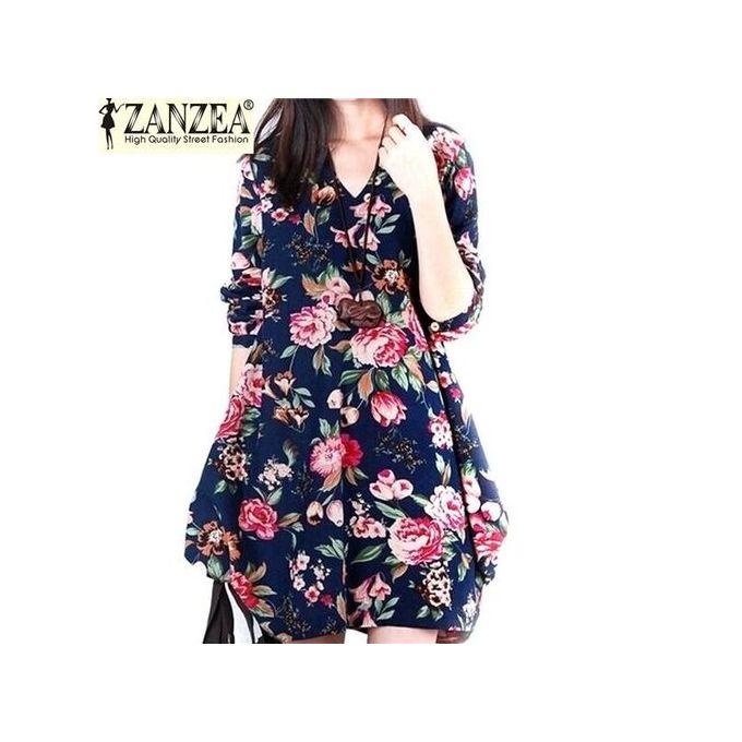 6d82f96e37 ZANZEA 2017 Trendy Autumn Linen Dress Women Vintage Flower Dress V Neck  Long Sleeve Casual Cute