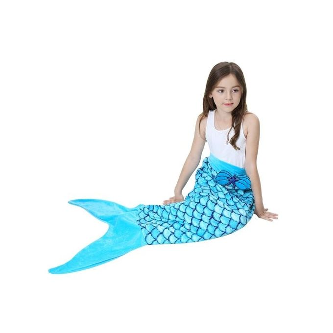 56cm * 135cm Mermaid Tail Blanket Super Soft Double Fleece Sleeping Bag For Kids Children Colour:JP123 –  مصر