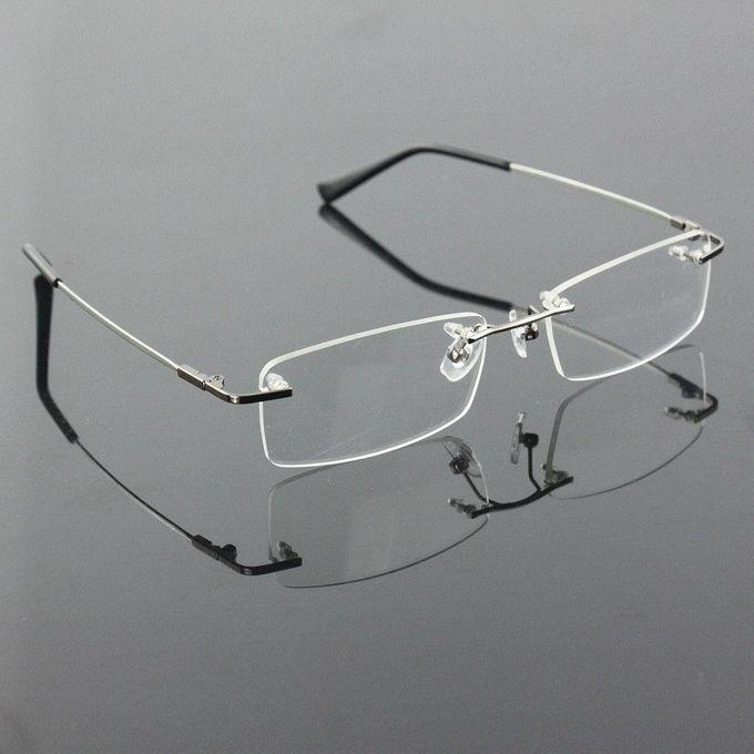 cd39117092 ... Rimless Glasses Lightest Rx Optical Eyeglasses Memory Titanium  Spectacles Frame Silver ...