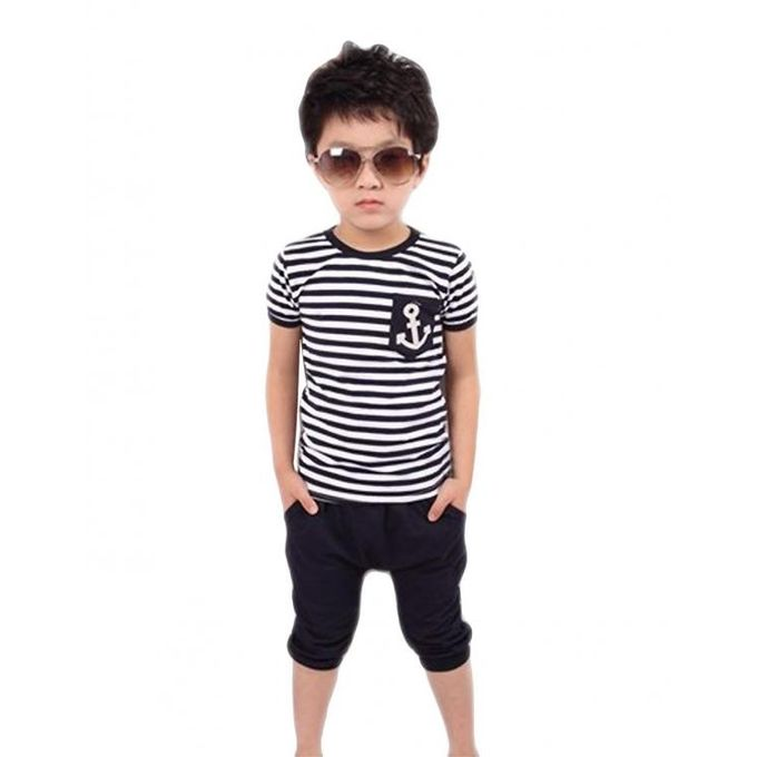 005159e8 SV015543_1 - Blue Boy Kids Children New Fashion Two Pieces Summer Suit  Striped Short Sleeve T