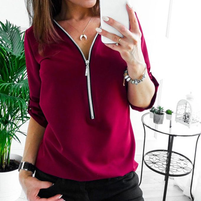 38b4727cc9e1 Jumia Anniversary Deal! Sale on Womens Plain V Neck Chiffon Tops ...