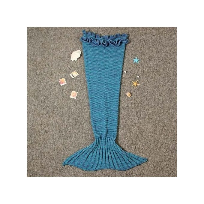 Mermaid Knitted Blanket And Throws For Kids – Turquoise –  مصر