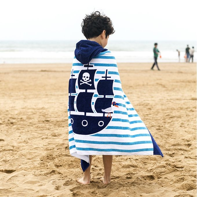 Towel To Wear Hooded Cloak Bath Towel Absorbent Bathrobe Swim Clothes for Adult / Children, Size: 76 x 127cm –  مصر