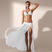 14c5524250903 Fashion Sexy Women Elastic Waist Hem Split Cover-up Swimwear Chiffon Long  Beach Dress Bathing