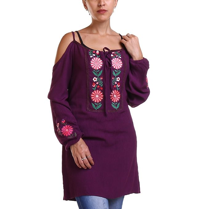 ec40692fb45 Sale on Cold Shoulder Embroidery Tunic Top - Purple