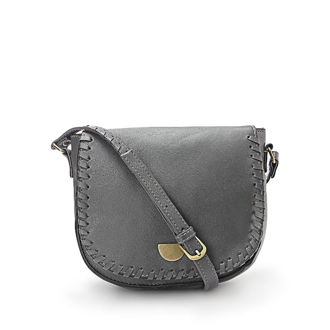 Braided Crossbody Bag - Grey