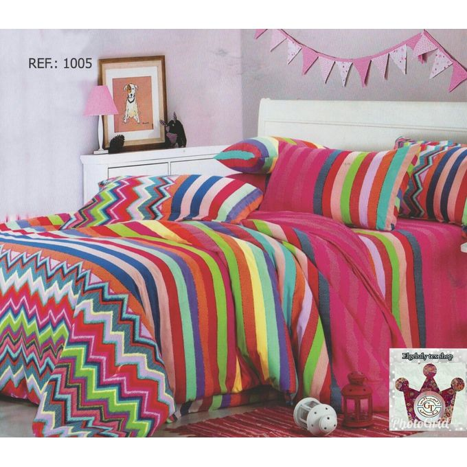 Floral Printed Bed Sheet Set – 4 Pcs – Multicolored –  مصر