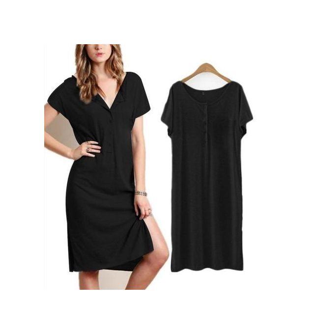 d725ce0ab0ff Celmia Women's Fashion O-Neck Short Sleeve Loose Side Split Summer Beach Midi  Dress Black