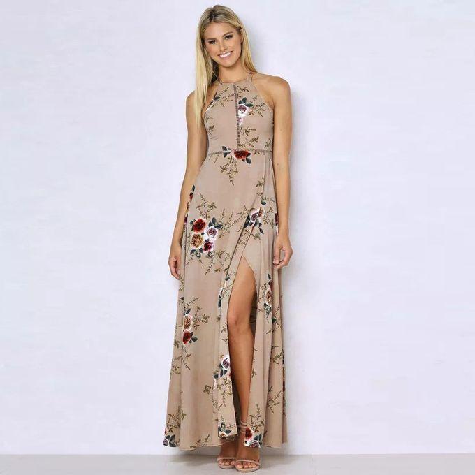6a0ed00c60 ... Hiamok Women Floral Chiffon Sleeveless Backless Boho Maxi Evening Party  Beach Dress ...