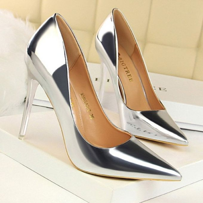 Female Ladies Soft Patent Leather High Heel Pointed Toe Shoes For Night Club