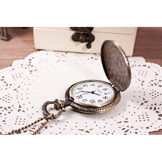 c9dcee97d Unisex Antique Case Vintage Brass Rib Chain Quartz Pocket Watch Train