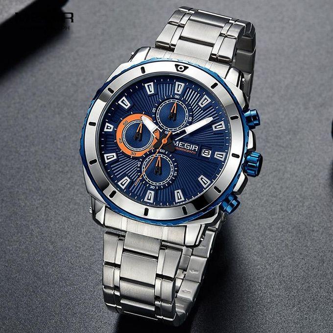 fb89e7ad8f0 MEGIR Chronograph Quartz Men Watch Luxury Brand Stainless Steel Business  Wrist Watches Men Clock Hour Time