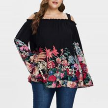 94029afa243f1 hiamok Women Plus Size Chiffon Flare Sleeve Floral Print Cold Shoulder  Suspender Top