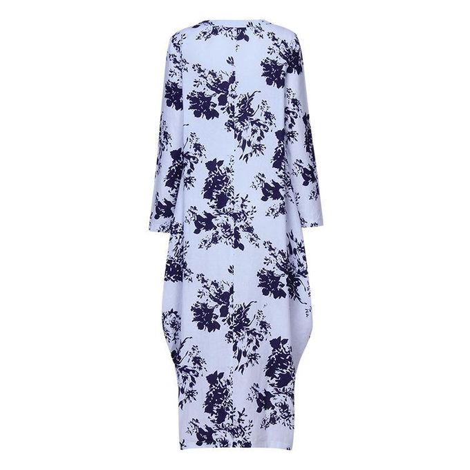 f9c2bc42d0 ... ZANZEA Oversized Womens Cotton Linen Floral Long Sleeves Casual Long  Maxi Dress Kaftan