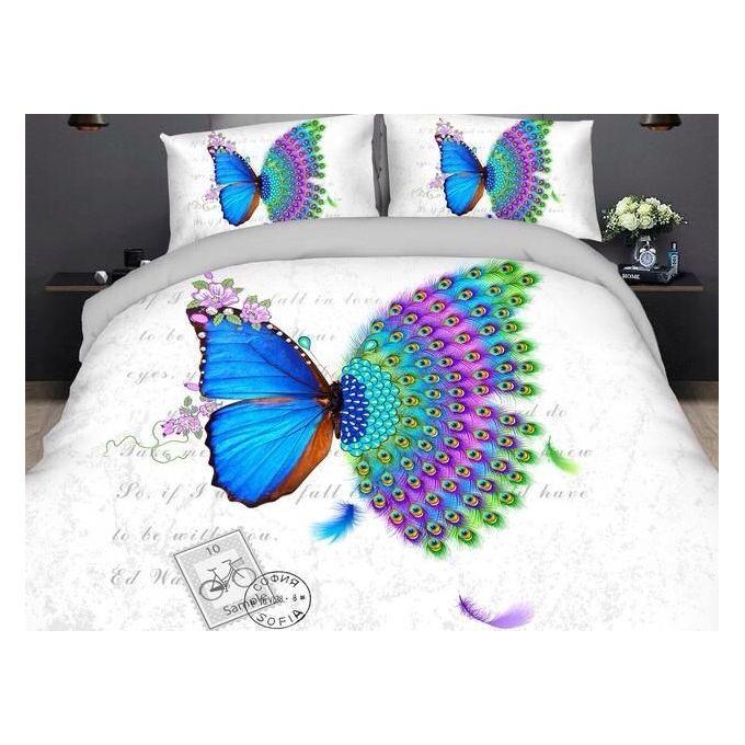 Butterfly Bedlinen Set – 5 Pcs – Blue & White –  مصر