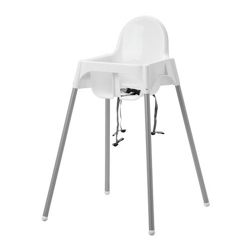 High chair with safety belt - White