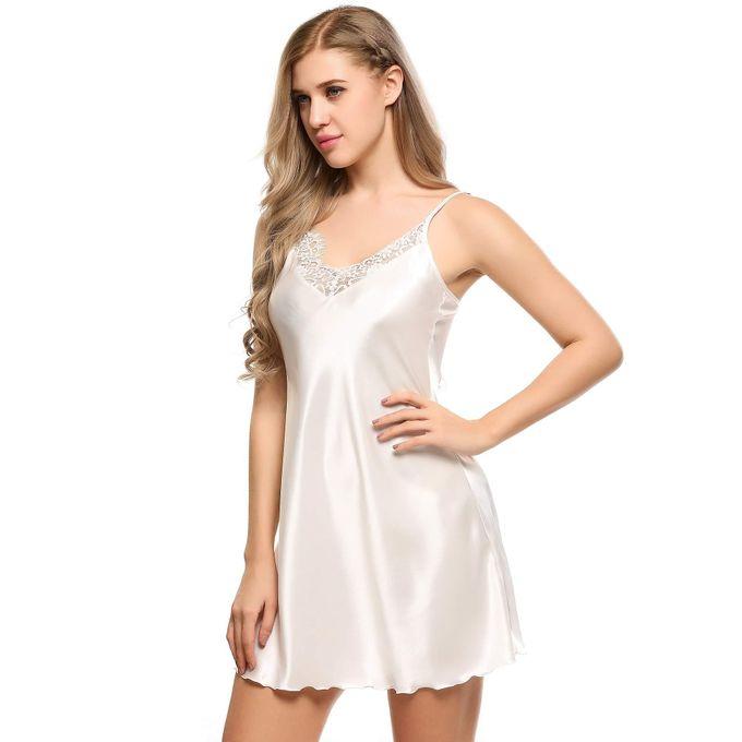 52f947f0fba4 ... Women Lace Patchwork Satin A-Line Hem Cami Nightgown Sleepwear Dress- White ...