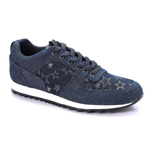 Jeans Textured Lace Up Shoes - Blue