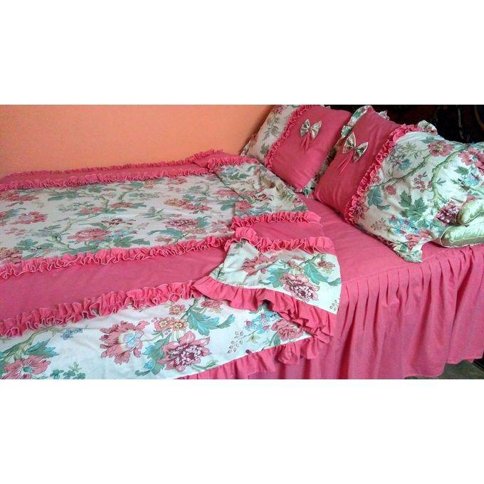 Floral Bed Sheet Set – 6 Pcs – Pink & White –  مصر