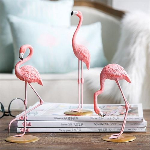 Generic 1 Piece Resin Pink Flamingo Home Decor Figure For Girl Ins Hot Gifts